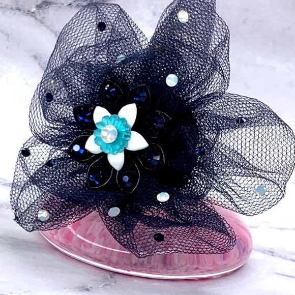 Tarina Tarantino Black and Blue Tulle Flower Ring